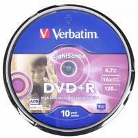 Verbatim DVD+R  4.7Gb 16X LightScribe CakeBox 10pcs