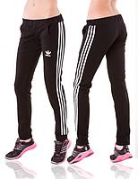 Черные спортивные штаны Adidas (Адидас) женские с лампасами на резинке (манжет) Украина