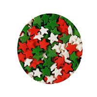 """Посыпка """"Бело-зелено-красные звезды"""", 50 гр."""