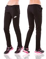 Спортивные брюки Найк (Nike) женские черные трикотажные прямые Украина