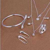 Набор Капельки 925 серебро проба (5 предметов) с подвесками