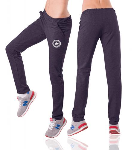 Трикотажные спортивные штаны женские прямые темно синие Украина