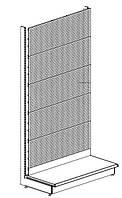 Стеллаж торговый в магазин с полками и перфорированной панельной стенкой, фото 1