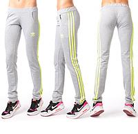 Серые спортивные штаны Adidas (Адидас) женские с лампасами на резинке (манжет) Украина