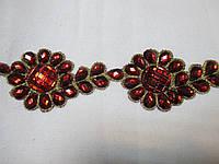 Тасьма зі стразами Квітка червона темна 5 см., фото 1