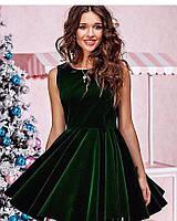 Платье с юбкой-солнце темно-зеленое из бархата
