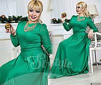 Шикарное нежное  зеленое  платье в пол с шифоновыми рукавами. Арт-9151/65