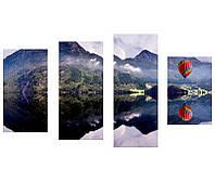 """Модульная фотокартина """"Воздушный шар в горах"""""""