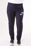Спортивные штаны женские больших размеров Найк (Nike) темно синие трикотажные батал Украина 201-03