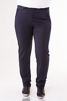 Спортивные брюки женские больших размеров темно синие трикотажные батал Украина