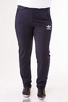 Спортивные штаны больших размеров женские Адидас (Adidas) темно синие трикотажные Украина