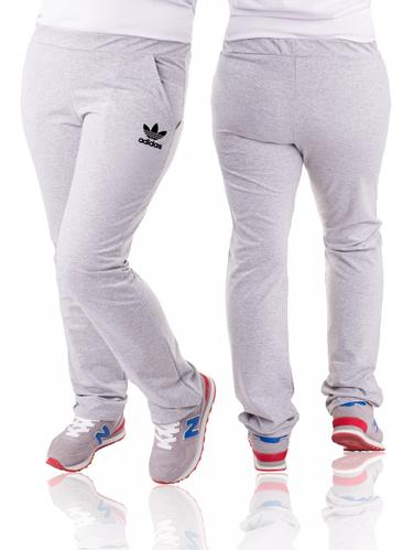 Спортивные штаны больших размеров женские Адидас (Adidas) светло серые трикотажные Украина
