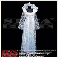 Платье Снежная королева с высоким воротником белый длинный новогодний