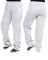 ТЕПЛЫЕ штаны большого размера женские Найк (Nike) на флисе зимние светло серые Украина