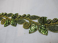 """Тесьма зі стразами """"Листочки"""" зелена 5 см., фото 1"""