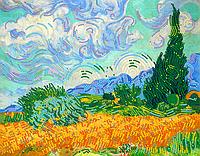 Схема для вышивки бисером POINT ART Пшеничное поле с кипарисом, размер 28х22 см