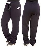 ТЕПЛЫЕ штаны большого размера женские Найк (Nike) на флисе зимние темно синие Украина