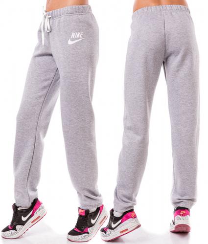 ТЕПЛЫЕ спортивные штаны женские Найк (Nike) зимние на флисе прямые светло серые Украина