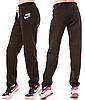 ТЕПЛЫЕ спортивные штаны женские Найк (Nike) зимние на флисе прямые черные Украина