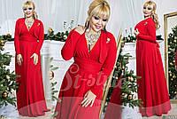 Длинное батальное красное платье, в комплекте болеро. Арт-9152/65