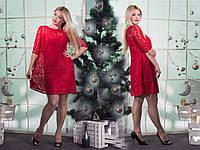 Женское гипюровое красное платье  (46-60) 8075