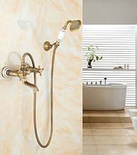 Змішувач кран з лійкою бронза для душу ванни