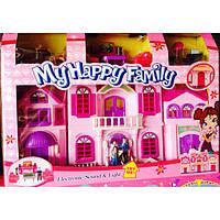 Игрушка кукольный домик, фигурки семьи , набор мебели, звуковые эффекты, пластик