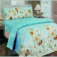 Двоспальна постільна білизна - Білі квіти на блакитному