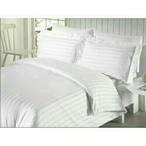 Двоспальний постільний комплект - Біла смужка на білому