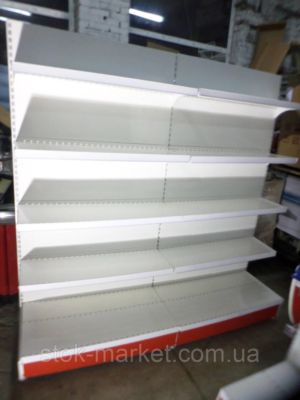 Стеллаж пристенный торговый б/у 6,8 м., торговие металлические стеллажи б у.