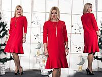 Женское красное платье  Волан(46-60) 8158