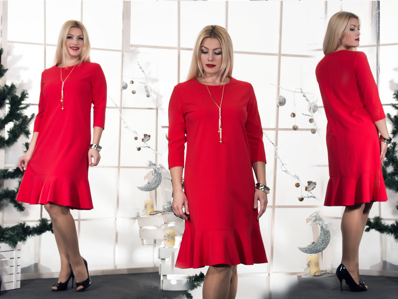 804529c7e4a2 Женское красное платье Волан(46-60) 8158, цена 440 грн., купить в ...
