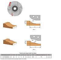 Фреза с механическим креплением твердосплавных ножей для обработки филенки 200х32х36