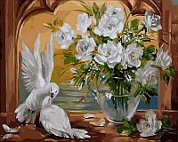 Картины по номерам 40×50 см. Голуби и розы