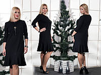 Женское черное платье  Волан(46-60) 8158.1
