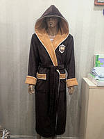 Халат мужской длинный с капюшоном NS-7160 Nusa коричневый, L/XL