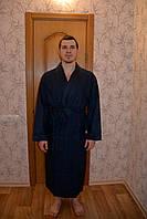 Халат мужской длинный вафельный NS-12680 Nusa синий, 4XL