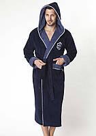 Халат мужской длинный с капюшоном NS-7160 Nusa синий