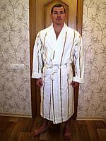 Халат мужской длинный без капюшона NS-2240 Nusa кремовый