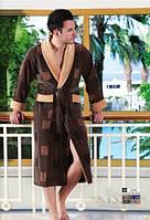 Халат мужской длинный без капюшона NS-2010 Nusa коричневый
