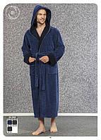 Халат мужской длинный с капюшоном NS-2845 Nusa синий, L/XL