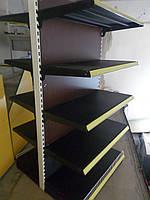 Стеллажи торговые островные двухсторонние металлические б у полки для товара, фото 1