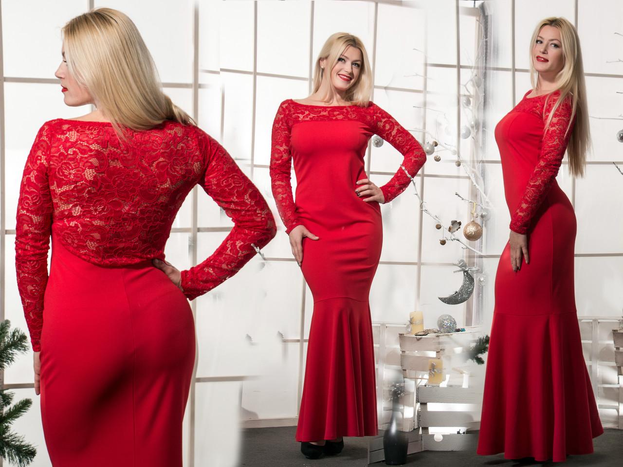 Женское красное платье  в пол Рыбка(42-56) 8070.1
