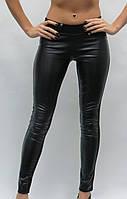 Черные трикотажные лосины брюки № 107 на флисе р. 40-50