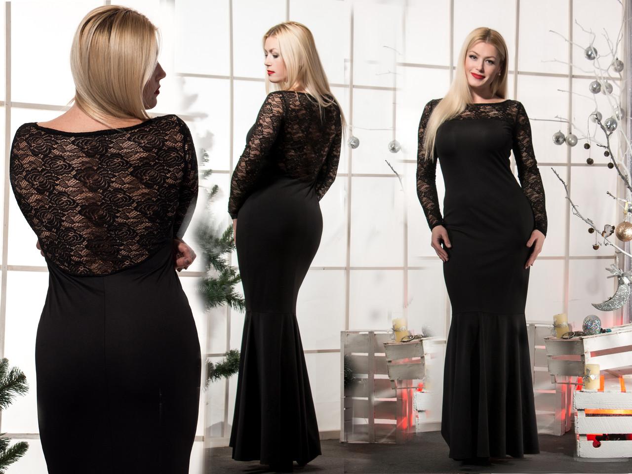 Женское черное платье  в пол Рыбка(42-56) 8070
