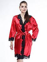 Халат атласный с кружевом Serenade 481 красно-черный