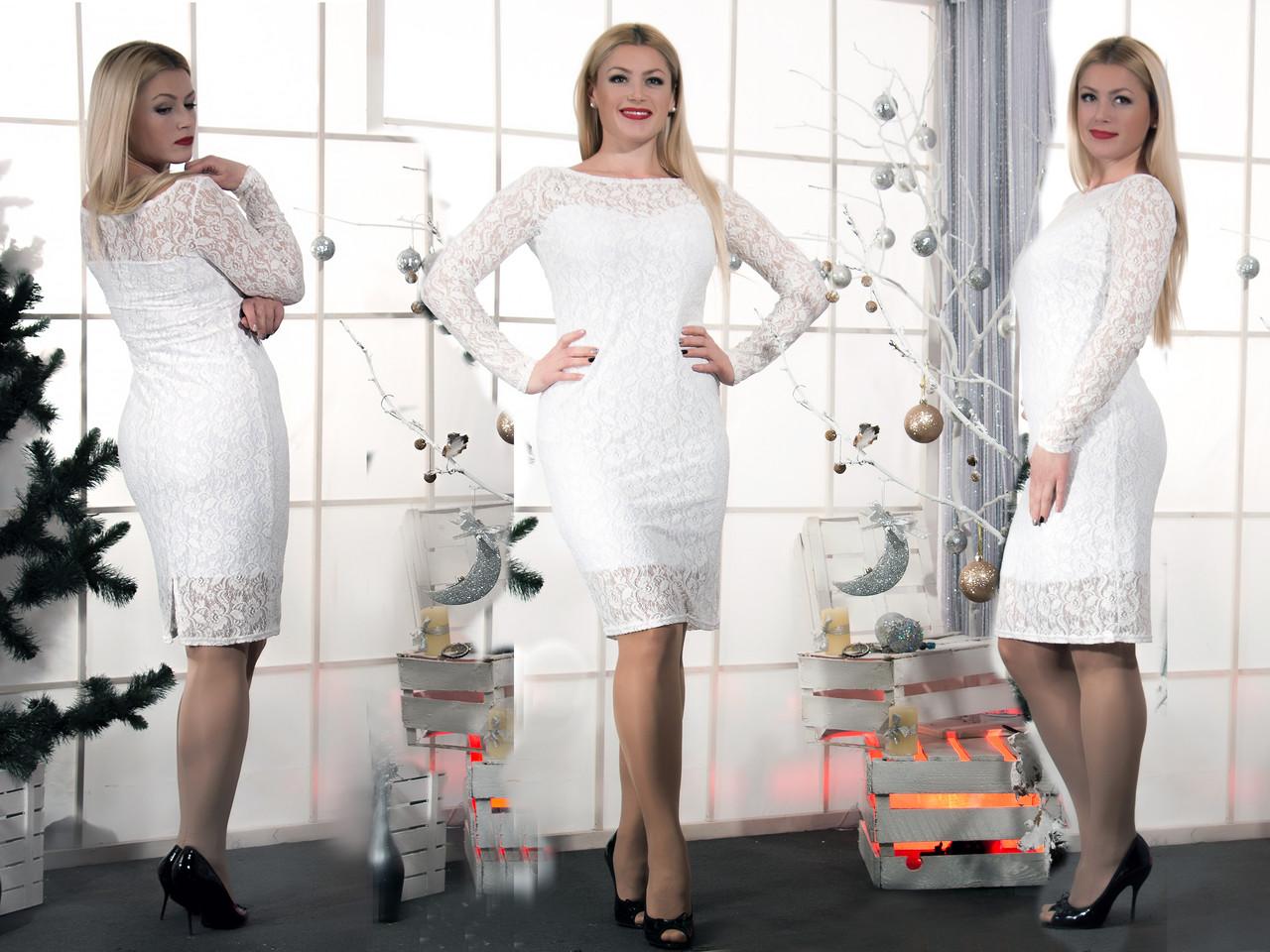 Женское белое гипюровое платье  (46-60) 8084