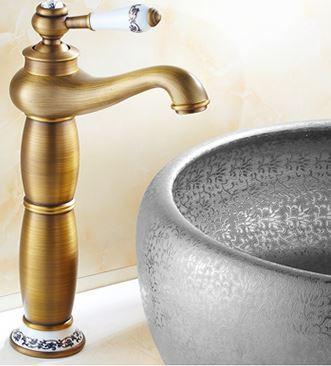 Смеситель кран высокий для чаши бронза однорычажный 0008