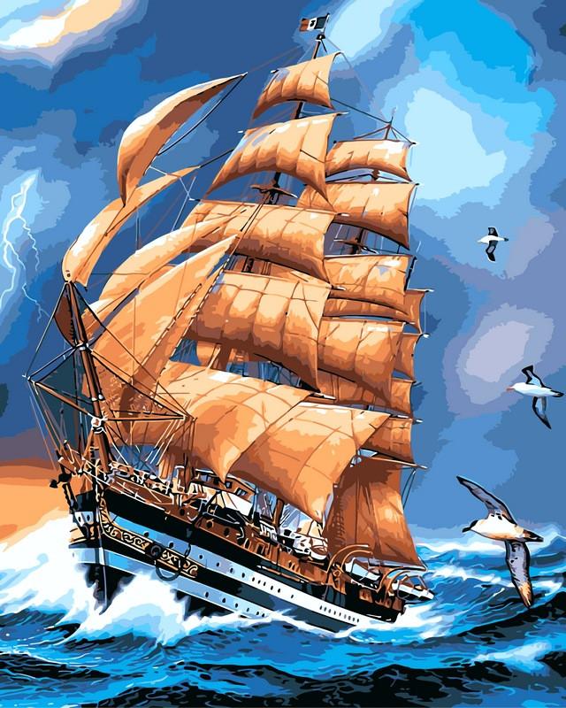 Картины по номерам 40×50 см. Парусник Америго Веспуччи