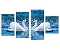 """Модульная картина из 4-х частей """"2 Лебедя"""""""